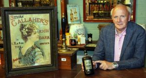 Victor Mee with some rare pub memorabilia from the contents of the Clermont Arms in Co Louth