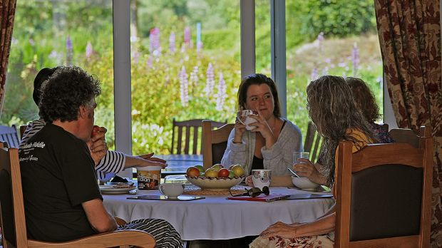 An artists' discussion around the breakfast table at the Tyrone Guthrie Centre. Photograph: Lorraine Teevan, Tyrone Guthrie Centre