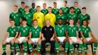 The Ireland under-19 squad set to take on Portugal in the European Championship semi-finals. Photo: FAI
