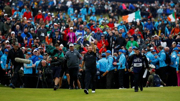 Lowry comes onto the 18th green during the final round. Photo: Jason Cairnduff/Reuters