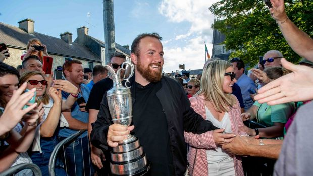 Shane Lowry at his homecoming at Clara GAA club, Co Offaly. Photograph: Morgan Treacy/Inpho
