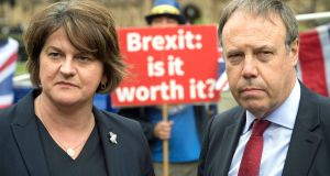 DUP leader Arlene Foster and deputy leader Nigel Dodds. Ms Foster said   she looked forward to discussing with Mr Johnson the 'shared objectives of strengthening the union, delivering Brexit and restoring devolution'. Photograph: Stefan Rousseau/PA Wire