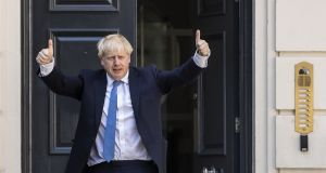 Newly elected Conservative party leader Boris Johnson s outside the Conservative leadership headquarters. Photograph: Dan Kitwood/Getty Images