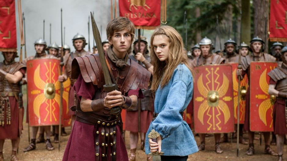 Sebastian Croft as brainy Roman teenager Atti and Emilia Jones, the plucky Celt Orla
