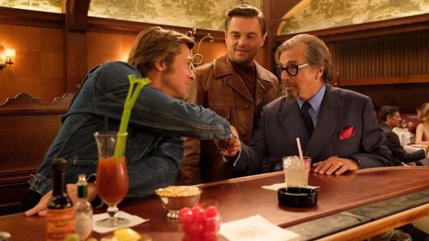Brad Pitt, Leonardo DiCaprio and Al Pacino in Once Upon a Time in Hollywood. Photograph: Andrew Cooper/Sony Pictures Entertainment