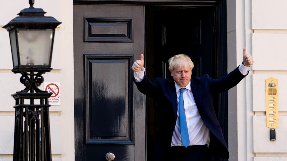 New Conservative party leader and incoming prime minister Boris Johnson arrives at the Conservative party headquarters in central London on Tuesday. Photograph: Niklas Halle'n/AFP/Getty Images