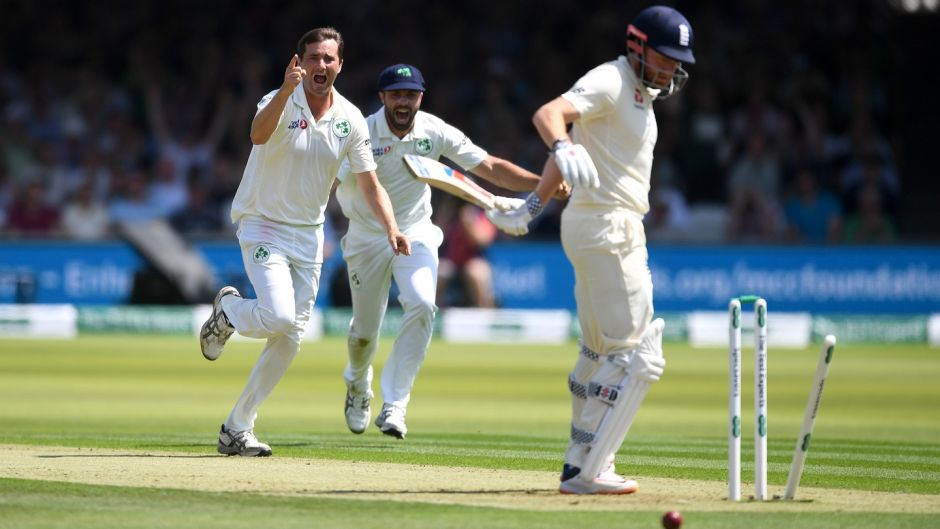 Jonathan Bairstow of England is bowled by Tim Murtagh of Ireland during day one of the Test match at Lord's. Photograph: Gareth Copley/Getty Images