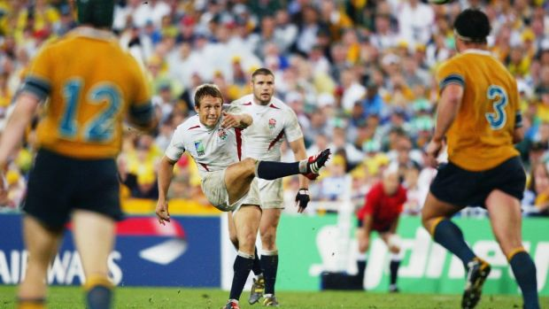 Jonny Wilkinson drops the winning goal for England in the 2003 Rugby World Cup fnial. Photograph: Dave Rogers/Getty