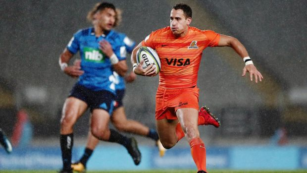 Argentina's Joaquin Tulculet in full flight for the Jaguares. Photograph: Anthony Au-Yeng/Inpho
