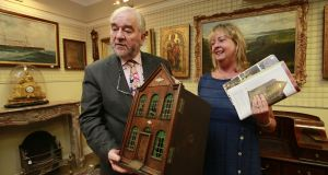 The dolls house was sold by the children's charity Tara's Palace and achieved €48,000 the proceeds  will  be distributed to a variety of children's charites. Pictured are Fonsie Mealy  and Tara's Palace treasurer Jenny Johnston. Photograph: Nick Bradshaw