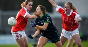 Foxrock-Cabinteely's Sinead Delahunty in action.  Delahunty believes athletes who incorporate menstrual health as part of their lives are the ones at the top of their game. Photograph: Tommy Grealy/Inpho