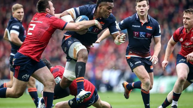 Viliame Mata carries for Edinburgh in their Champions Cup quarter-final defeat to Munster. Photograph: Gary Carr/Inpho