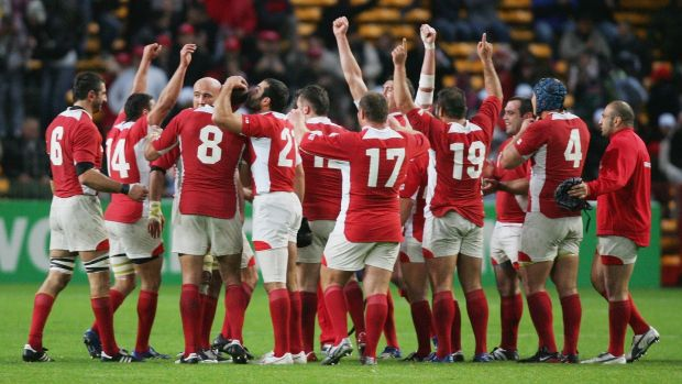 Georgia celebrate their maiden Rugby World Cup victory over Namibia in 2007. Photograph: Warren Little/Getty