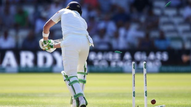 Andy Balbirnie is bowled by Olly Stone after making 55 at Lord's. Photograph: Julian Finney/Getty