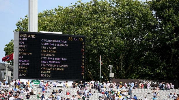 The scoreboard at Lord's showing England's first innings effort of 85. Photograph: Alex Davidson/Inpho