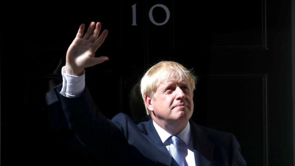 Boris Johnson:  'I say to our friends in Ireland, and in Brussels and around the EU, I am convinced that we can do a deal without checks at the Irish Border, because we refuse under any circumstances to have such checks.' Photograph: Hannah McKay/Reuters