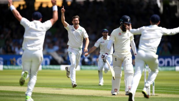 Tim Murtagh celebrates taking the wicket of Moeen Ali at Lord's. Photograph: Gareth Copley/Getty