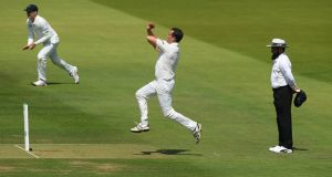 Tim Murtagh glides in to bowl for Ireland at Lord's. Photograph: Stu Forster/Getty