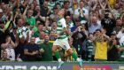 Leigh Griffiths scores Celtic's third goal at Parkhead on Wednesday night. Photograph: Andrew Milligan/PA