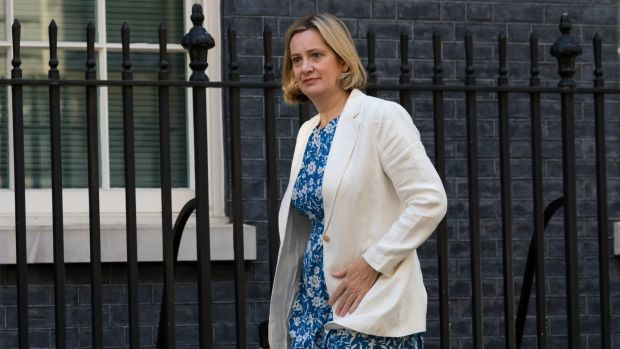 Amber Rudd keeps her position as secretary of state for work and pensions. Photograph: Vickie Flores/EPA
