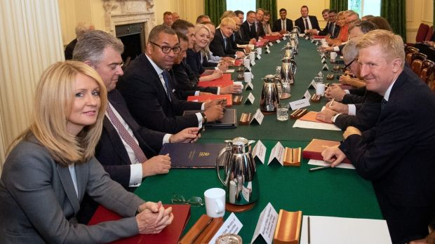 Boris Johnson's first cabinet meeting at Downing Street, London, on Thursday. Photograph: Aaron Chown/Reuters