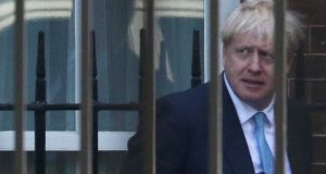 Britain's new prime minister Boris Johnson outside Downing Street in London on Thursday. Photograph: Hannah McKay/Reuters