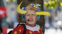 New clown in town: An anti-Brexit protester marks the start of the Boris Johnson era. Photograph: Chris Ratcliffe/Bloomberg