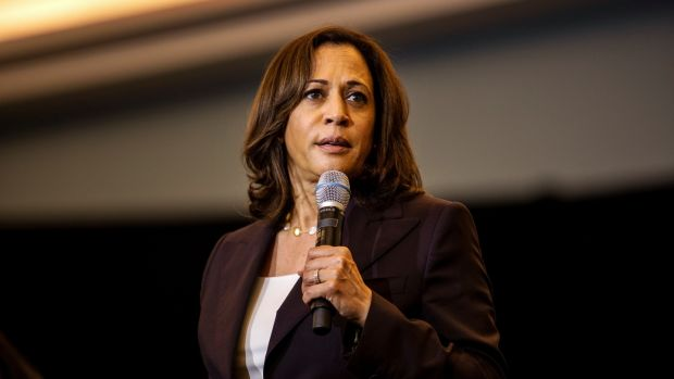 Senator Kamala Harris: A strong figure who generates excitement among the Democratic party's base. Photograph: Demetrius Freeman/The New York Times