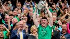 "Limerick's Declan Hannon lifts the Liam MacCarthy following the 2018 All-Ireland final win over Galway. ""Once my family and friends are happy and healthy and we have enough money for things, that's all that matters."" Photograph: Ryan Byrne/Inpho"