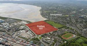 An aerial view of the former Irish Glass Bottle site in Ringsend, and adjoining land controlled by Nama.