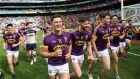 Lee Chin and his Wexford team-mates celebrate the Leinster final victory over Kilkenny at Croke Park. Photograph: Gary Carr/Inpho