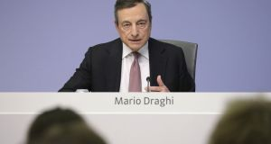 Mario Draghi, president of the European Central Bank (ECB), speaks during a rates decision news conference in Frankfurt, Germany, on Thursday. Photograph: Bloomberg