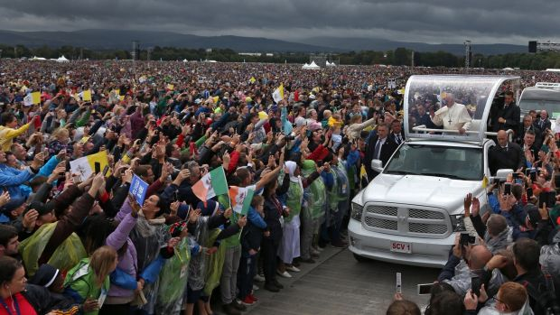 Pope Francis arrives at the Phoenix Park for Mass. Photograph: Colin Keegan/Collins