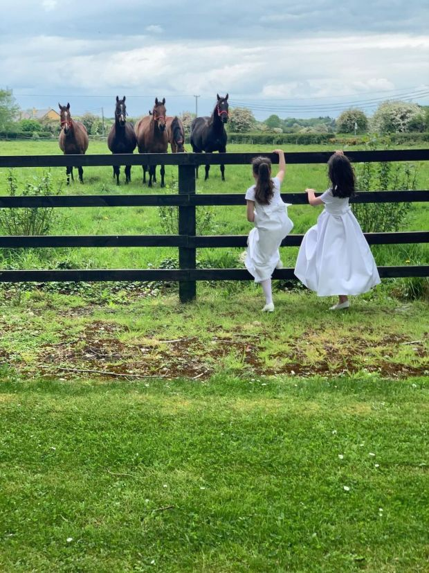 Summer Pix 2019: First Communion girls make a break for it. Photograph: Ruth Walsh