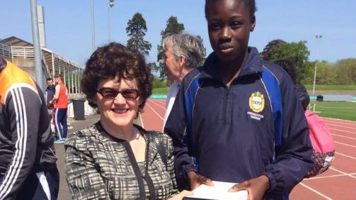 Rhasidat Adeleke receiving an athlete of the meeting award at a schools event in 2016.