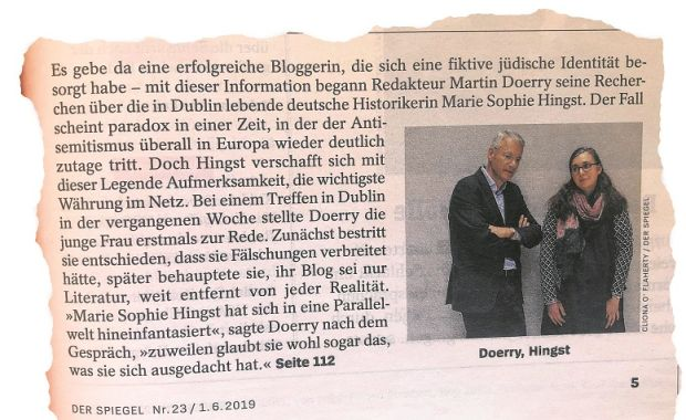 A clipping from the Der Spiegel article about Sophie Hingst