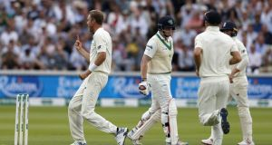 England bowler Stuart Broad celebrates after dismissing Kevin O' Brien during day three the Test match at Lord's. Photo: Adrian Dennis/Getty Images