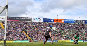 Limerick's Peter Casey scores Limerick's  opening goal  in the Munster final victory over Tipperary at the Gaelic Grounds. Casey is delivering on his considerable potential this year. Photograph: James Crombie/Inpho