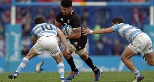 Ardie Savea impressed at number eight in New Zealand's 20-16 victory over Argentina in Buenos Aires. Photograph:   Alejandro Pagni/AFP/Getty Images