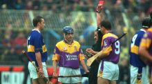 Referee Pat Horan sends off Tipperary's Brian O'Meara and Wexford's Liam Dunne during the 2001 All-Ireland hurling final replay. The decision would cost O'Meara the chance to play in the All-Ireland victory over Galway. Photograph: Morgan Treacy/Inpho