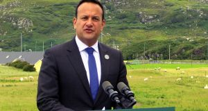 Taoiseach Leo Varadkar speaks to the media in Donegal after Thursday's Cabinet meeting. Photograph: Michael McHugh/PA Wire