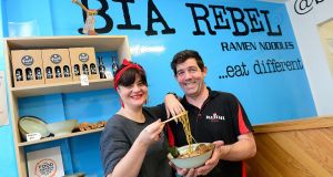 Jenny Holland and Brian Donnelly in their ramen shop in Belfast – Bia Rebel. File photograph: Arthur Allison/Pacemaker Press