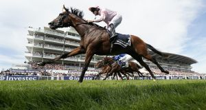 Seamie Heffernan riding Anthony Van Dyck to victory in  The Investec Derby  at Epsom in June. Photograph:  Alan Crowhurst/Getty Images