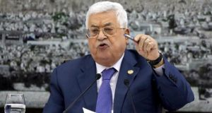 Palestinian president Mahmoud Abbas: 1We announce the leadership's decision to stop implementing the agreements signed with the Israeli side.' Photograph: EPA/STR