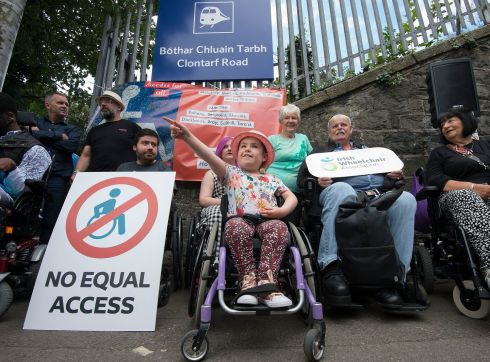 A newly formed group, Dart Access For All, protested outside Clontarf Dart station today, highlighting the lack of access for wheelchair users.  Photograph: Dave Meehan/The Irish Times