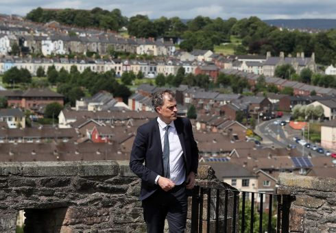 New Secretary of State for Northern Ireland Julian Smith on the city walls in Derry. Photograph: Brian Lawless/PA Wire