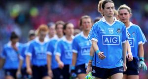 Sinead Aherne: leading Dublin out against Cork in last year's TG4 Ladies Senior All-Ireland football final. Dublin are bidding for three in a row this year. Photograph: Tommy Dickson/Inpho