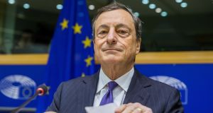 The president of the European Central Bank, Mario Draghi, has hinted at another dovish flight into rate-cutting and asset purchasing at the ECB's next meeting. Photograph: Stephanie Lecocq/EPA
