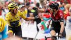 Colombia's Egan Bernal  is congratulated of Team Ineos team-mate Geraint Thomas  after retaining the overall leader's yellow jersey on the 20th stage  of the Tour de France  between Albertville and Val Thorens. Photograph: Yoan Valat/EPA