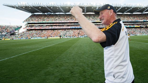 Kilkenny manager Brian Cody celebrates at the final whistle. Photograph: Tommy Dickson/Inpho